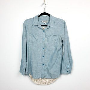 Long Sleeve Button-Up w/ Cut-Out Netted/Lace Back